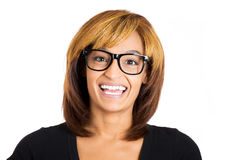 A confident geek woman with glasses happy and smiling at you Royalty Free Stock Photography