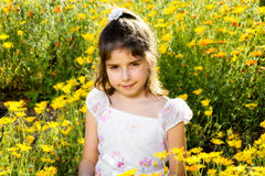 Confident Girl With Allergy Eyes in Flowers. Sweet, little girl with a confident, closed mouth smile sitting in a bed of wild African Daisies. Her eyes are a bit Stock Photos