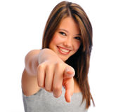 Confident girl points Stock Photo