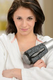 Confident girl posing with blow dryer Royalty Free Stock Images