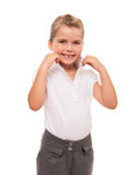 Confident girl standing on white and correcting her collar. It's need to be spick and span stock photography