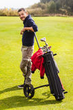 Confident golf player Stock Images