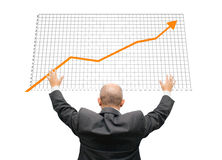 Confident Growth. Confident Business Man with hands in the air stock images