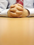 Confident Hands. Businessman's hands at a meeting Royalty Free Stock Images