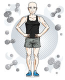 Confident handsome bald young man is standing on simple background with dumbbells and barbells. Vector illustration. Of sportsman, sport style vector illustration
