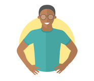 Confident handsome black man in glasses. Flat design icon. Resolute boy with arms akimbo. Simply editable isolated vector illustra royalty free illustration