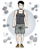 Confident handsome brunet young man with beard is standing on si. Mple background with dumbbells and barbells. Vector illustration of sportsman, sport style Royalty Free Stock Image