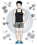 Confident handsome brunet young man with beard is standing on si. Mple background with dumbbells and barbells. illustration of sportsman, sport style Royalty Free Stock Photo