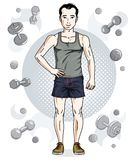 Confident handsome brunet young man is standing on simple backgr. Ound with dumbbells and barbells. Vector illustration of sportsman, sport style Stock Photography