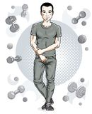 Confident handsome brunet young man is standing on simple backgr. Ound with dumbbells and barbells. Vector illustration of sportsman, sport style Royalty Free Stock Photography