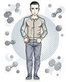 Confident handsome brunet young man is standing on simple backgr. Ound with dumbbells and barbells. Vector illustration of sportsman, sport style Stock Image