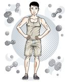 Confident handsome brunet young man is standing on simple backgr. Ound with dumbbells and barbells. Vector illustration of sportsman, sport style Stock Images