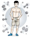 Confident handsome brunet young man is standing on simple backgr. Ound with dumbbells and barbells. Vector illustration of sportsman, sport style Royalty Free Stock Image
