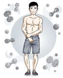 Confident handsome brunet young man is standing on simple backgr. Ound with dumbbells and barbells. Vector illustration of sportsman, sport style Royalty Free Stock Photos