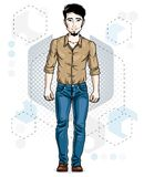 Confident handsome brunet young man standing. Vector illustration of male with beard wearing casual clothes, jeans pants and. Cotton shirt stock illustration