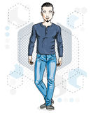 Confident handsome brunet young man standing. Vector illustration of male with beard wearing casual clothes, jeans pants and. Cotton shirt royalty free illustration