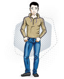 Confident handsome brunet young man standing. Vector illustration of male wearing casual clothes, jeans pants and pullover. stock illustration