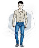 Confident handsome brunet young man standing. Vector illustration of male wearing casual clothes, jeans pants and cotton shirt. royalty free illustration