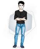 Confident handsome brunet young man standing. Vector illustration of male wearing casual clothes, jeans pants and T-shirt. royalty free illustration