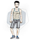 Confident handsome brunet young man standing. Vector illustration of male wearing casual clothes, jeans shorts and singlet. vector illustration