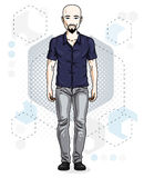 Confident handsome hairless young man standing. Vector illustration of male with beard and whiskers wearing casual clothes, jeans. Pants royalty free illustration