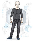 Confident handsome hairless young man standing. Vector illustration of male wearing casual clothes, jeans pants and sweathirt. royalty free illustration