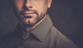 Confident handsome man with  beard posing on dark background. Stock Photography