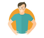 Confident handsome man in glasses. Flat design icon. Boy with arms akimbo. Simply editable isolated vector illustration Royalty Free Stock Images