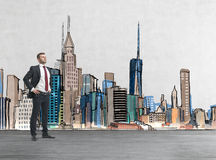 Confident handsome man is going to tackle with problems.. Confident handsome businessman is going to tackle with problems. Drawn New York on the background. A Stock Image