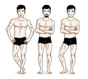 Confident handsome men group standing in black underwear. Vector. Diversity people illustrations set vector illustration