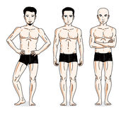 Confident handsome men group standing in black underwear. Vector. Diversity people illustrations set. Athletic man with perfect body stock illustration