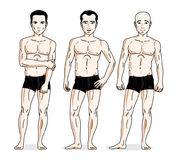 Confident handsome men posing in black underwear. Vector people. Illustrations set vector illustration