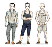 Confident handsome men posing in stylish sportswear. Vector set. Of beautiful people illustrations vector illustration