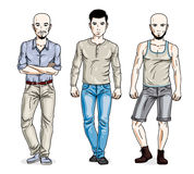 Confident handsome men posing wearing fashionable casual clothes. Vector people illustrations set vector illustration