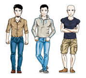 Confident handsome men posing wearing fashionable casual clothes. Vector people illustrations set royalty free illustration