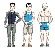 Confident handsome men standing in stylish sportswear, sportsman. And fitness people. Vector diverse people illustrations set royalty free illustration