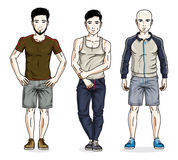 Confident handsome men standing in stylish sportswear, sportsman. And fitness people. Vector diverse people illustrations set. Lifestyle theme male characters royalty free illustration