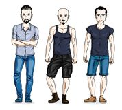 Confident handsome men standing wearing fashionable casual cloth. Es. Vector characters set vector illustration