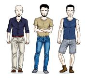 Confident handsome men standing wearing fashionable casual cloth stock illustration