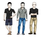 Confident handsome men standing wearing fashionable casual cloth. Es. Vector characters set. Lifestyle theme male characters royalty free illustration