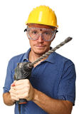 Confident handyman with drill Stock Images