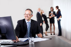 Confident happy businessman writing notes Stock Photos