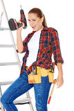 Confident happy DIY handy woman Stock Images