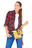 Confident happy DIY handy woman Stock Photography