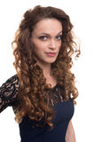 Confident happy woman with curly hair Royalty Free Stock Photos