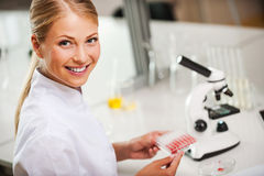 Confident at her researches. Royalty Free Stock Photo