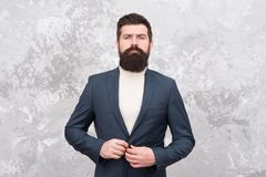 Confident in his new business. Tailor or fashion designer. Modern life. elegant man with beard. Brutal bearded hipster. In formal suit. Male fashion model stock images