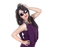 Confident hispanic woman with sunglasses, isolated Royalty Free Stock Image