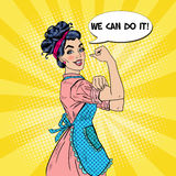 Confident Housewife Pop Art Woman Powerful Gesture and Comic Speech Bubble with Text We Can Do It Stock Images