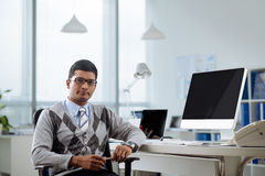 Confident Indian programmer Royalty Free Stock Images